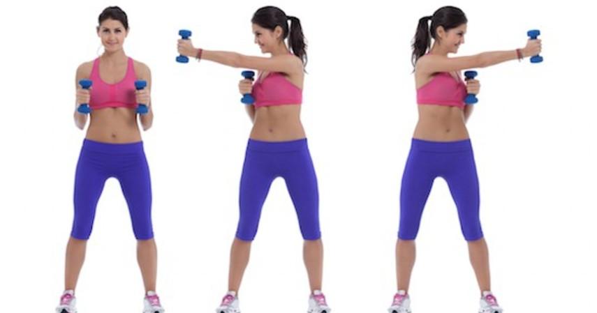 Gerakan olahraga yang dapat memperbesar payudara - Dumbbell Cross Punch