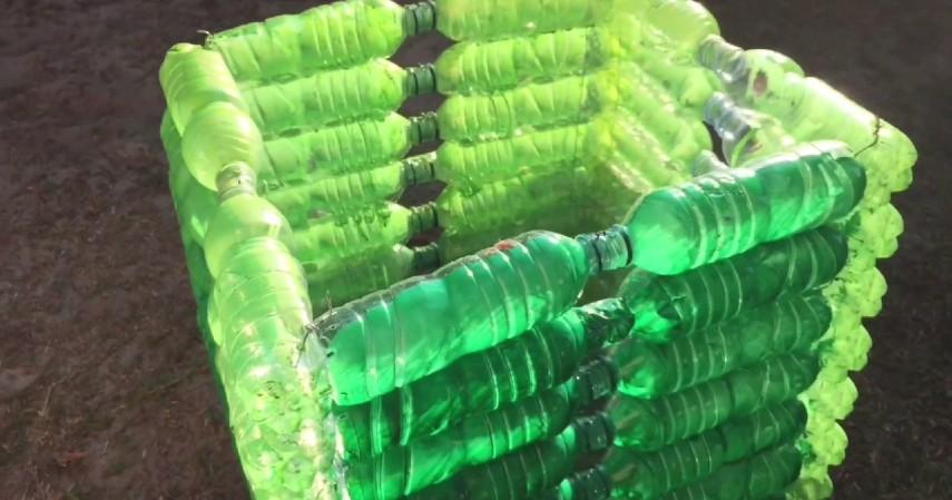 kerajinan dari botol bekas - Keranjang sampah